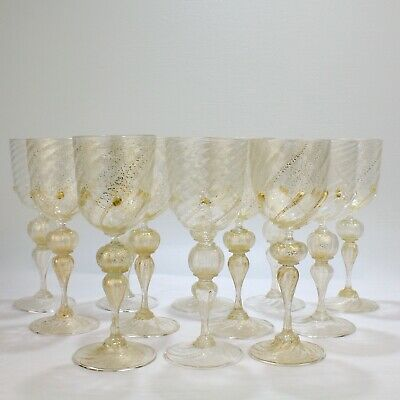 12 Venetian / Murano Glass Large Water or Wine Goblets w Gold Inclusions - GL