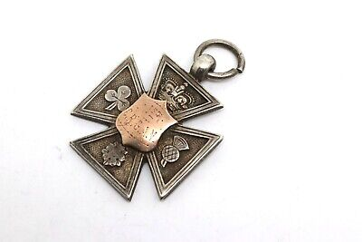 A Nice Antique Edwardian C1905 Sterling Silver & Gold Fob Medal Pendant #18882