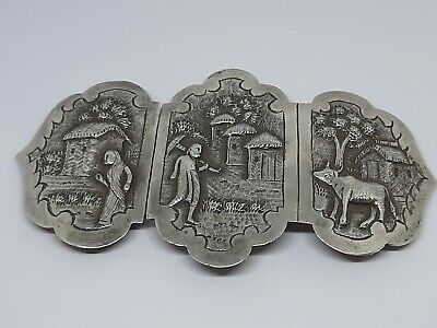 Rare Antique Chinese Export Solid Silver Belt Buckle 61G