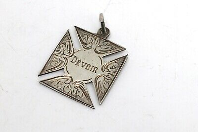 A Nice Antique Art Deco C1920 Sterling Silver Maltese Fob Medal Pendant #18871