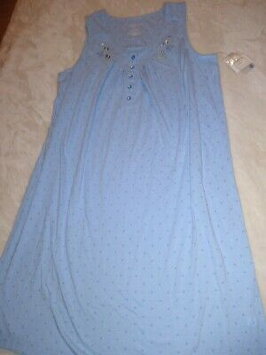NWT Croft & Barrow Womens Nightgown Cotton Blend Blue Sleeveless Pajamas