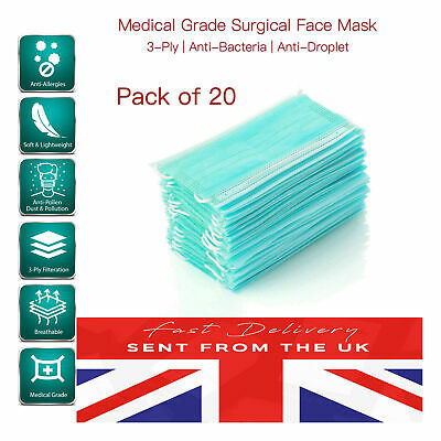 Medical Grade Surgical Mask UK Anti-Pollen No Particles HYGIENIC SEAL [20 PACK]