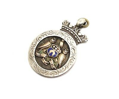A Nice Antique Edwardian C1910 Sterling Silver & Gold Fob Medal Pendant #18874