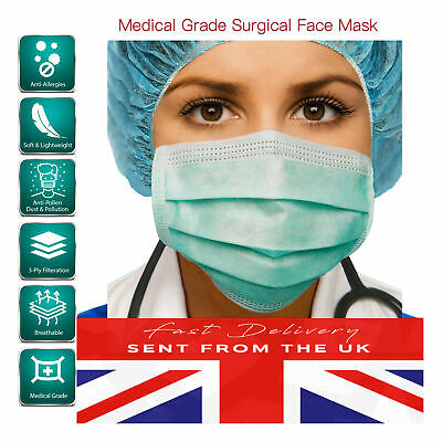5 Disposable Surgical Mask Ear loop Face Mask Salon Dust Medical 3 Ply UK