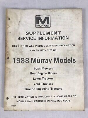 Murray Supplement Service Information 1988 Murray Models Manual