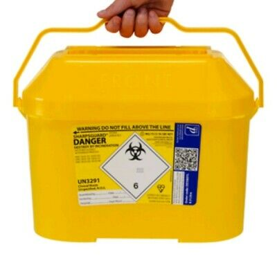 FIVE X 8.5 Litre Sharps Bin Box Medical Waste 8500ml needle tattoo container