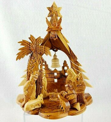 Hand Carved Olive Wood Nativity Scene Holy Land One Piece 3D Tree Shaped Stable