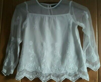 Girls Cream Lace Party Top Age 5-6 Years Autograph M+S Excellent Condition