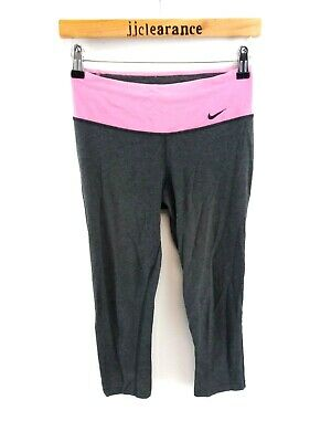 NIKE Womens 3/4 Tracksuit Bottoms Joggers XS W25 L20 Grey Pink Poly Leggings