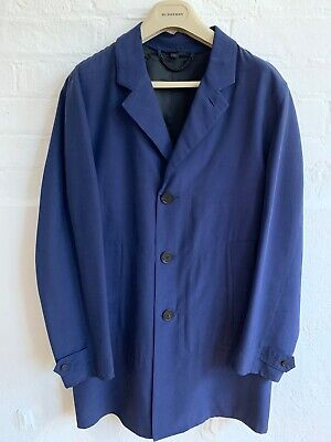 Burberry Prorsum Mens Ss14 Raw Silk Coat Jacket Navy Blue Size 48 New With Tags