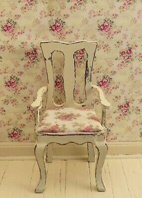 Dollhouse Miniature Shabby Chic Distressed Side Arm Chair 1:12 Dining Pink