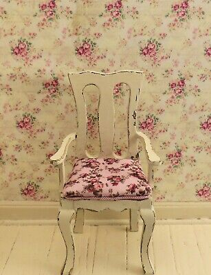 Dollhouse Miniature Shabby Chic Distressed Side Arm Chair 1:12 Dining Kitchen