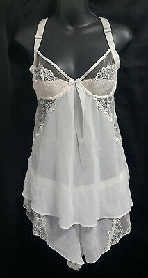 Ann Summers White Lace Mesh Set Cami and Matching Briefs Size UK 12 / EUR 38
