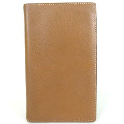 Auth Hermes Square E Stamp Notebook Cover Brown Leather #4003H51