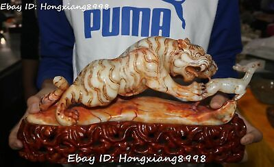 China Natural Hetian Old jade Carving Tiger Downhill Tiger Deer sika deer Statue