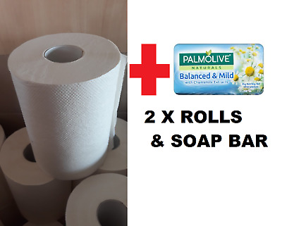 2x Pack & Soap Bar Hand Paper Towels Towel Rolls Roll Home Kitchen Industrial