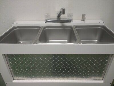 Portable Sink Concession Sink 3 Compartment Sink, Large Basin Table Top  (USED)