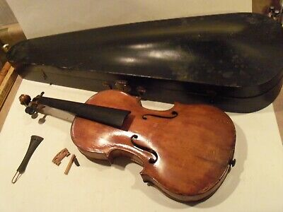Old Vintage Antique Violin,Full Size With Wood Case & Bow,Label Reads 1840 Franz