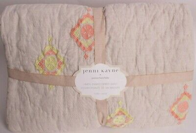 NWT Pottery Barn Kids Jenni Kayne Linen Embroidered toddler quilt crib nursery