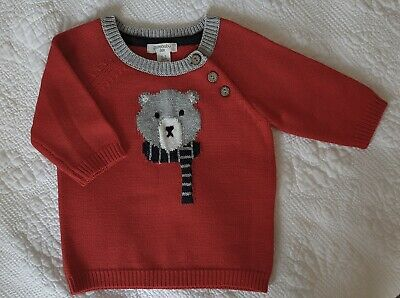Boys PURE BABY Red knit sweater jumper pullover 000 3 mths BRAND NEW Winter Bear