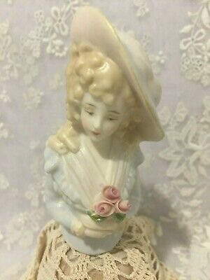 "Porcelain Half Doll ""Pip"" approx 9 cm tall painted in chiffon blue and pale pink"