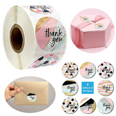 x500 Thank You Stickers Round Love Labels Pink Gifts Arts Crafts Box Wedding