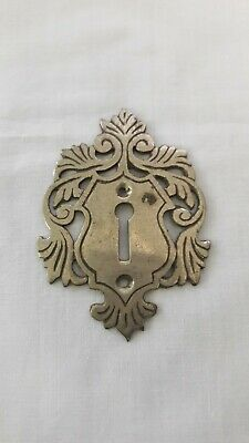 Antique 1940s or 50s Brass Door Escutcheon Keyhole Plate Cover Vintage Old k2