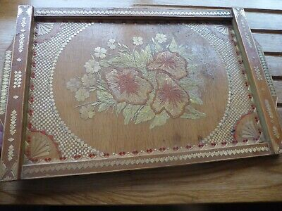 Vintage tray straw reed flax made pattern flowers wooden Tiram Albania
