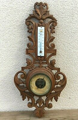 Big antique black forest barometer wood early 1900's Germany woodwork