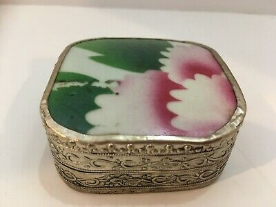 Antique Chinese Porcelain Shard Silver Plated Box with Floral Design