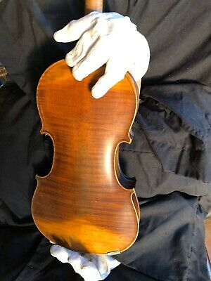 Antique Violin and Case 1890s-29 Fidelback Maple, and Wooden Case.