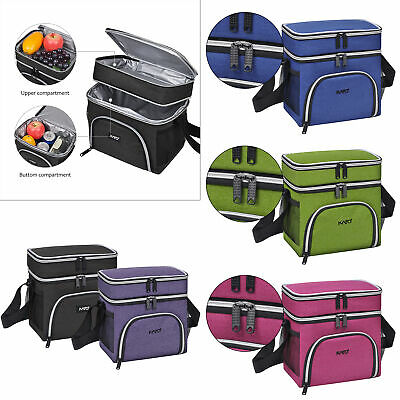 Insulated Lunch Bag Dual Compartment Thermal Leakproof Bento Cooler Box Tote