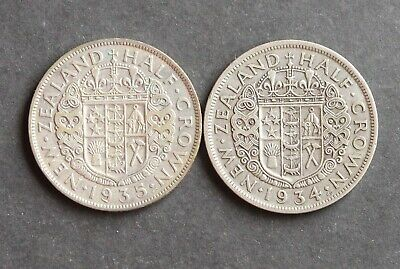 2 x NEW ZEALAND SILVER HALF CROWNS 1934 & 1935 .500