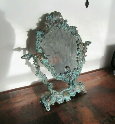 Vintage Vanity Mirror Brass Baroque Rococo French Dressing Table