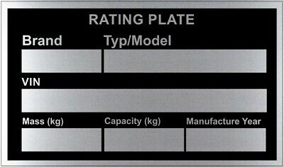 Trailer Blank VIN /& Weight Chassis Plate with Number /& Letter Stamp Punch Set