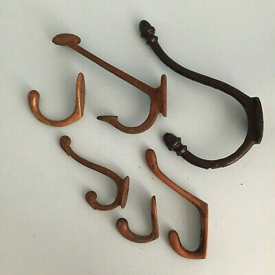 6 Genuine Old Vintage Metal Coat Hooks Door Wall Hangers Eclectic Mixed Lot U