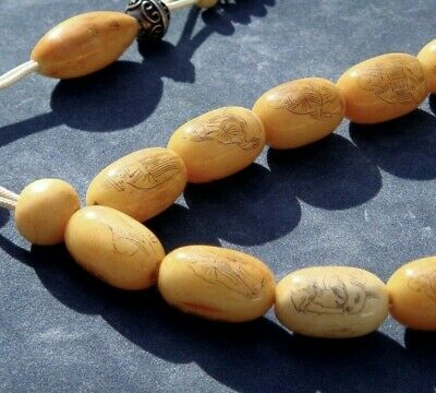 Ultra Rare Very Old Antique Hand-Etched Prayer Beads