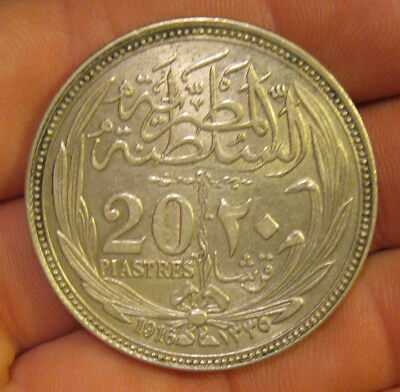 Egypt - 1916 Large Silver 20 Piastres - Nice Coin!