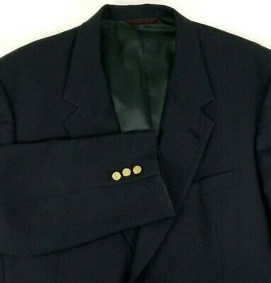 Hart Schaffner Marx Mens Blazer Size 44 Regular Gold Button Navy Blue 100% Wool