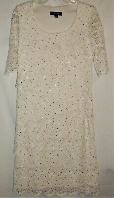 Womens RM Richards Sequin Dress SIZE 8 Ivory Lace Straight Made in USA Ladies
