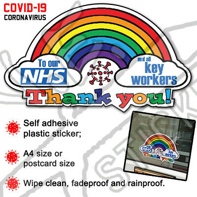 *20%: NHS CHARITY* Rainbow Window Phone Sticker Thank You NHS Key Workers Decal