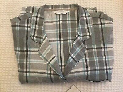 M&S Ladies Pyjamas Size 22 In Grey/ Green Check 100% Cotton BNWT Ideal Present