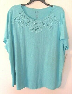 Womens Croft & Barrow Blue S/S Round Neck Cot. Blend Top/Blouse, 3X,  NWT