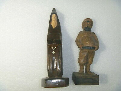 Vintage Ouro Artesania Sancho Panza Hand Carved Wood Statue SPAIN & MONK MEXICO