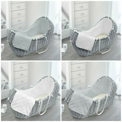 Newborn Baby Wicker Fully Dressed Moses Basket Pod Bassinet Grey