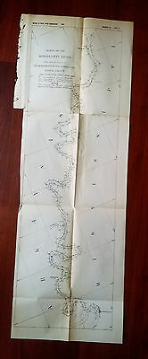 1882 Sketch Survey Map Helena to Greenville AR Mississippi River