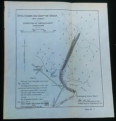 Original 1905 Shoal Harbor & Compton Creek NJ Fischer Point Port Monmouth Map