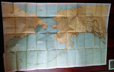 Large 1890 Treasury Dept. USC&GS color Chart Map of Alaska, Siberia