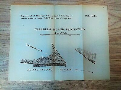 1882 Sketch Map Diagram Carroll's Island Protection Mississippi River