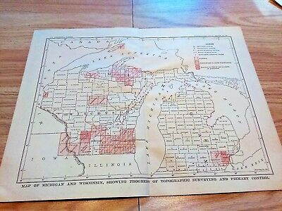 1904 Map of Michigan Wisconsin Progress of Topographical Surveying & Stations